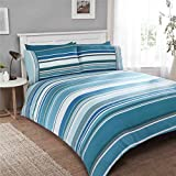 STRIPED TEAL 100% BRUSHED COTTON CANADIAN QUEEN SIZE (230CM X 220CM - UK KING SIZE) DUVET COMFORTER COVER