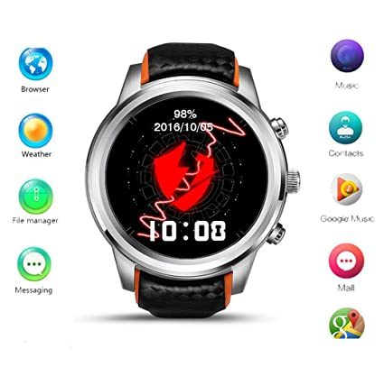 Smart Watch Android 5.1 MTK6580 Quad Core 1GB/8GB 3G WIFI GPS Heart Rate Monitor