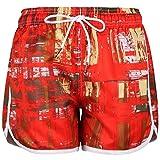 Women's Solid Board Shorts Swim Trunks Beach Boardshorts, 1103-Red, X-Large=Tag XXL