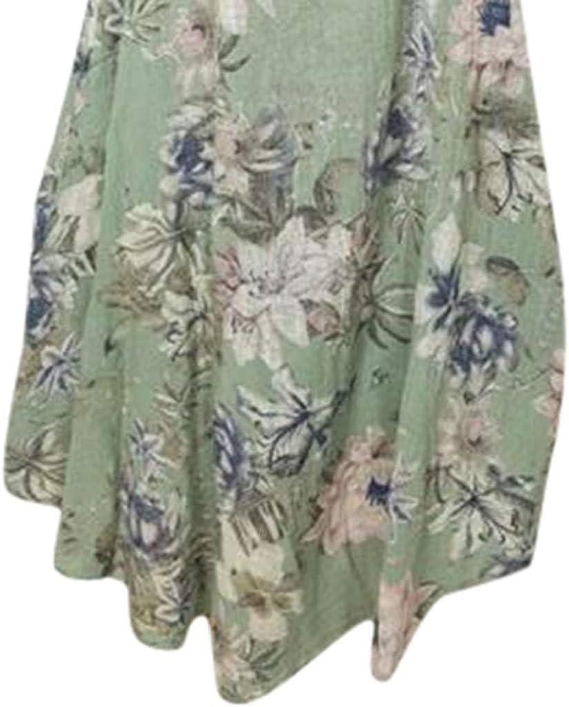 Damen /Ärmellos Rundhals Minikleid Sommer L/ässiges Lockeres Kleid Strandrock Urlaubsrock Club Kleid Festkleid Lucky Mall Frauen Mode Blumendruck Tank Rock
