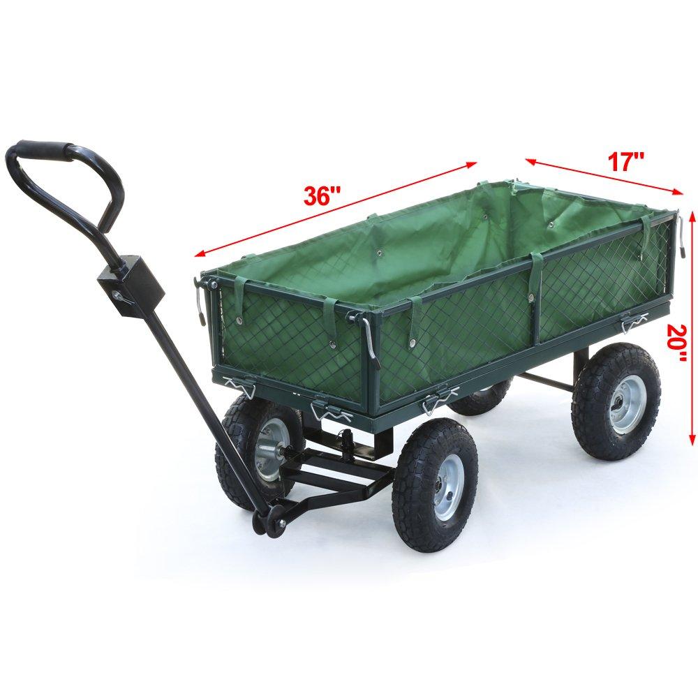 Popamazing Green Heavy Duty Steel Crate Wagon 440 lbs Cart Load Capacity L40 x W17 x H20