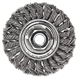 Weiler Dualife Standard Wire Wheel Brush, Threaded Hole, Stainless Steel 302, Partial Twist Knotted, 4'' Diameter, 0.014'' Wire Diameter, 5/8-11'' Arbor, 7/8'' Bristle Length, 1/2'' Brush Face Width, 20000 rpm