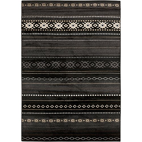 Clarke Black Bohemian/Global Area Rug 5'3