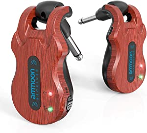 ammoon Wireless Guitar Transmitter Receiver 5.8 Ghz Guitar Wireless System 4 Channels 100 Feet Transmission Range for Electric Guitar Bass