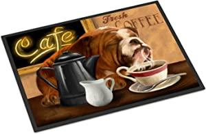 Caroline's Treasures PTW2061MAT English Bulldog Morning Coffee Indoor or Outdoor Mat 18x27, 18H X 27W, Multicolor