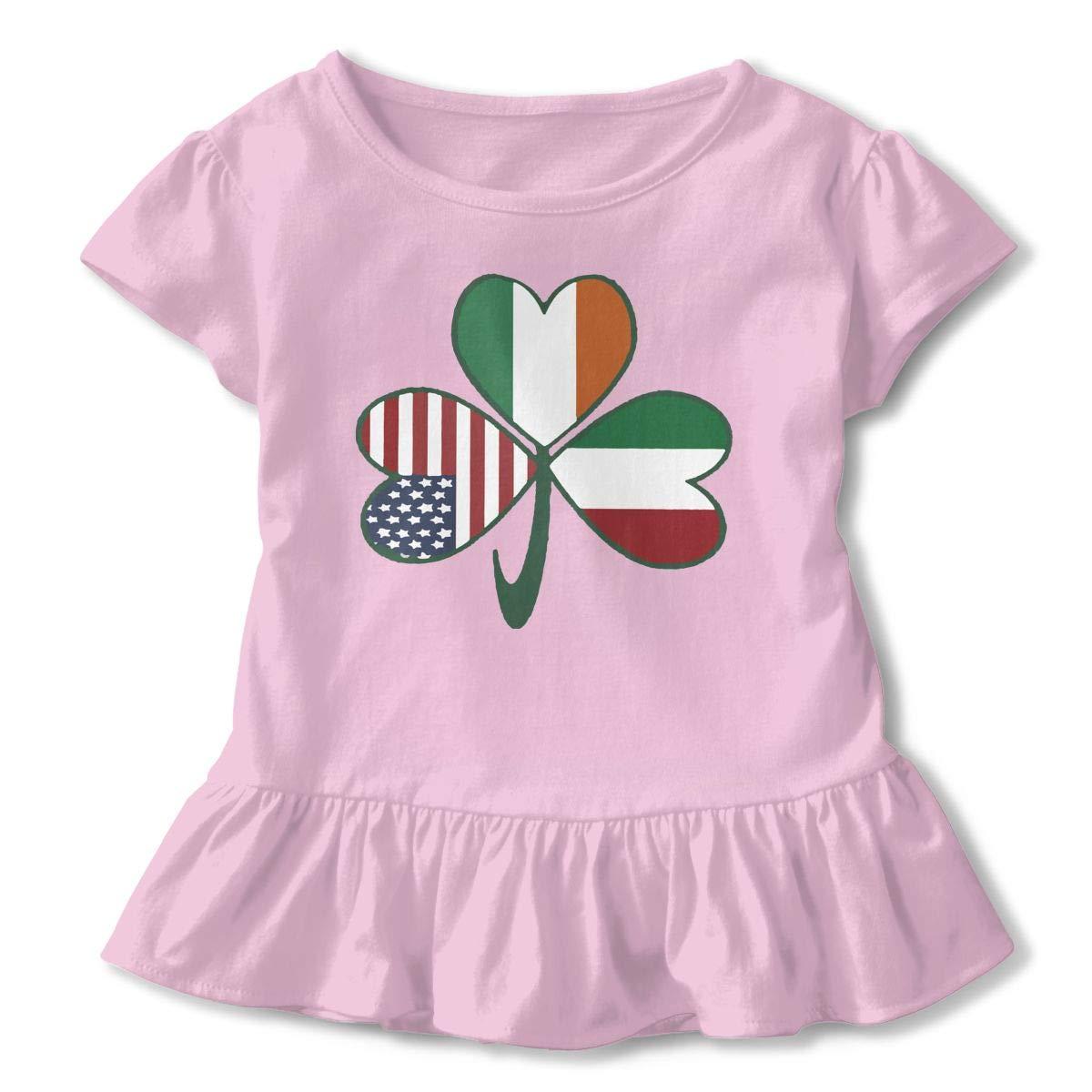 HYBDX9T Toddler Baby Girl Italian Irish American Shamrock Funny Short Sleeve Cotton T Shirts Basic Tops Tee Clothes
