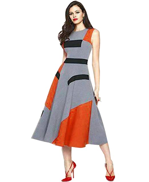 31b4605b9a34 RED   Orange CREP Western Dress  Amazon.in  Clothing   Accessories