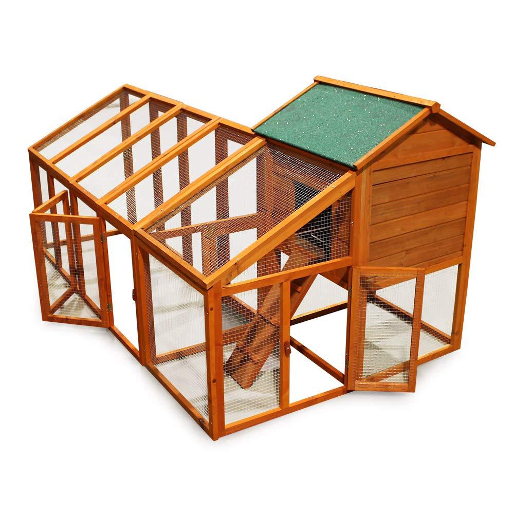 Wiltec Hühnerhaus Hühnerstall aus Holz mit variablem Freilaufgehege und Nistplatz