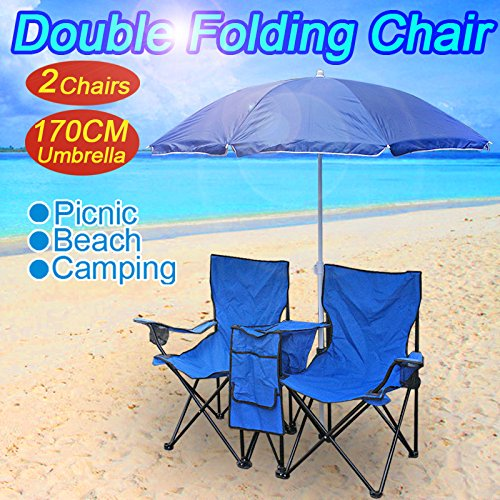 Price comparison product image F2C Double Folding Chair with Umbrella Table Cooler Fold Up Beach Camping Chair for Picnic (#2blue)