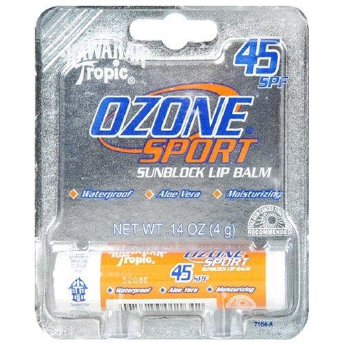 Hawaiian Tropic Ozone Sport Sunblock Lip Balm, 45 SPF, Citrus Flavor 0.14 oz (4 g)