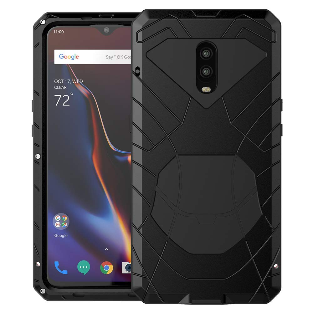 OnePlus 6T Case, 6T Phone Case, Armor Hybrid Aluminum Alloy Metal Cover Heavy Duty Soft Rubber Shockproof Protective Military Bumper Outdoor OnePlus ...