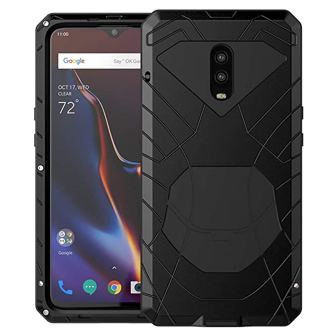 lowest price f00e1 b39a1 OnePlus 6T Case, 6T Phone Case, Armor Hybrid Aluminum Alloy Metal Cover  Heavy Duty Soft Rubber Shockproof Protective Military Bumper Outdoor  OnePlus ...