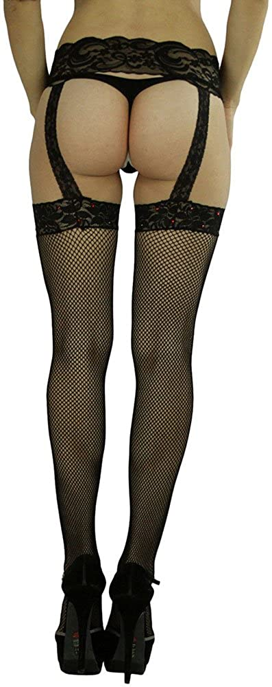 ToBeInStyle Womens Fishnet Suspender Garter Stockings with Rhinstone On Lace Top