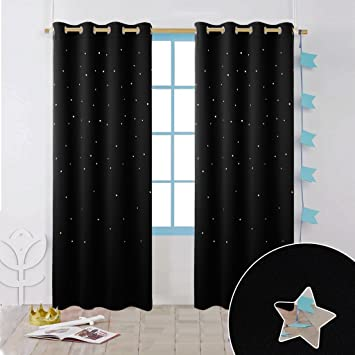 Amazon.com: Nicetown Nursery Essential Laser Cutting Star Blackout ...