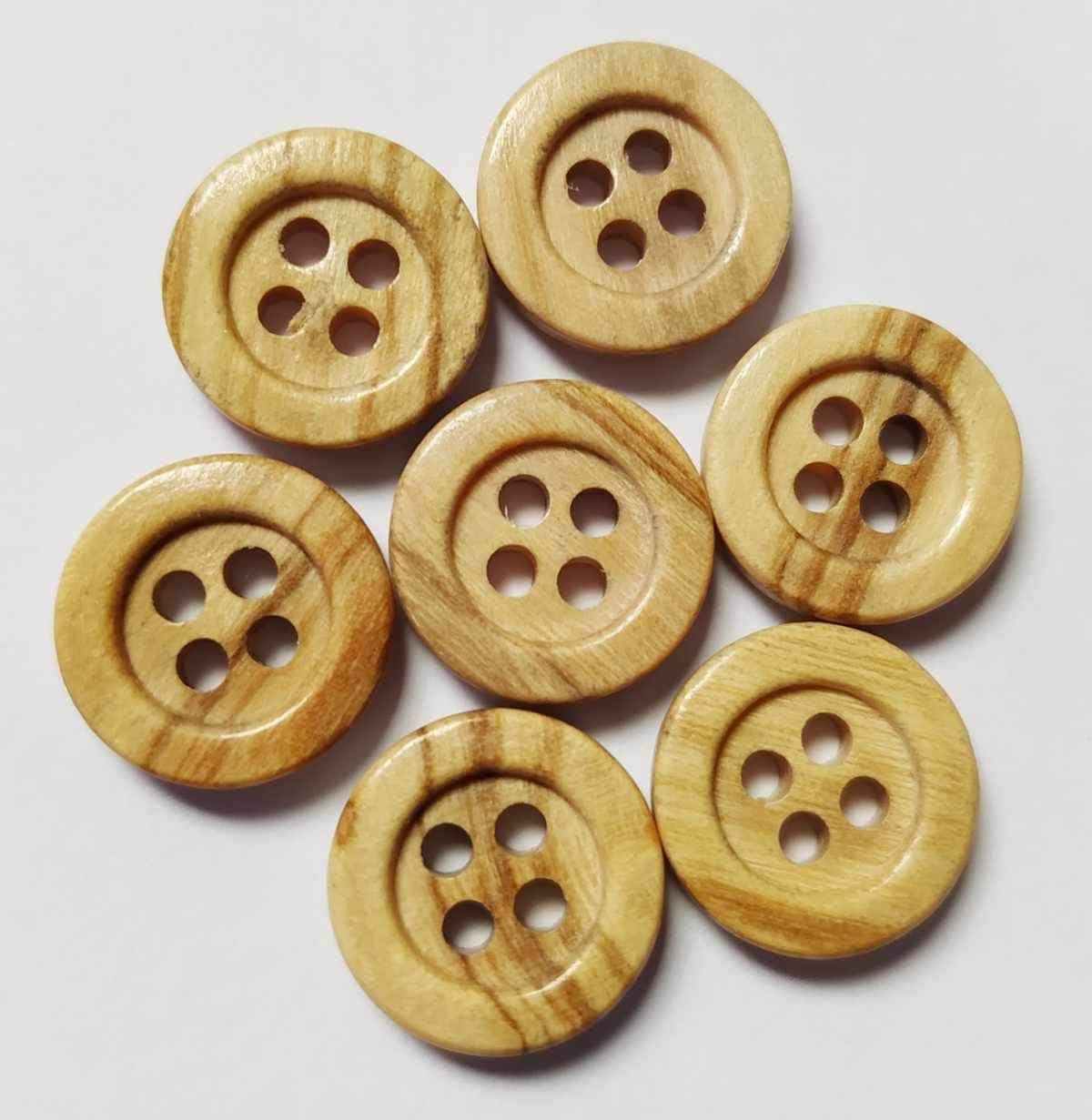 50 Botones de Madera (11 mm) - 4 agujeros con reborde - Color madera clara - FABRICADO y ENVIADO desde España