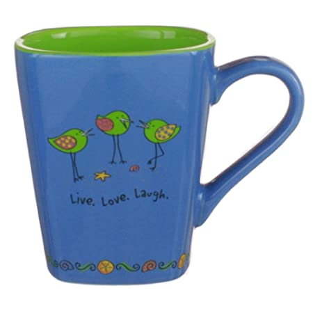 Orilla pájaros taza de café Live, Love, Laugh apta para ...