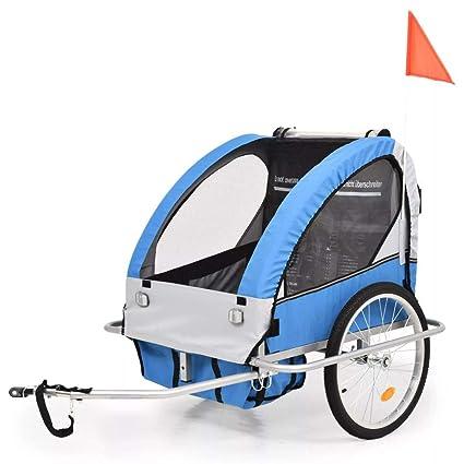 Festnight- Remolque de Bicicleta Infantiles y Cochecito 2-en-1 Azul y Gris