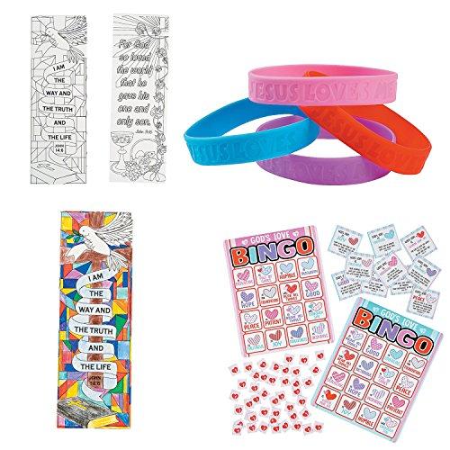 William & Douglas Religious Party Favor Bundle | Christian Gifts, Favors  and Games | Jesus Loves Me Rubber Bracelets, Religious Love Bingo Game &