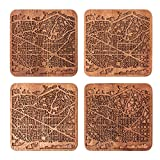 Barcelona Map Coaster by O3 Design Studio, Set Of 4, Sapele Wooden Coaster With City Map, Handmade