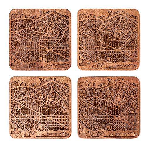 Barcelona Map Coaster by O3 Design Studio, Set Of 4, Sapele Wooden Coaster With City Map, Handmade by O3 Design Studio