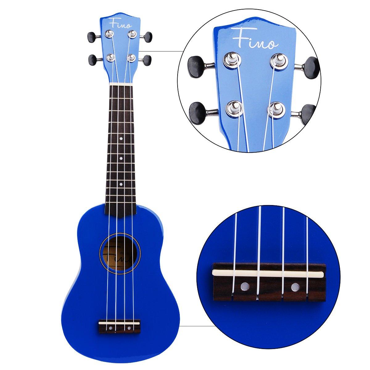 FINO Ukulele Kit for Beginners Rainbow Series,Soprano Ukulele Beginner Pack-21 inch w/Gig Bag,Strap and Picks,Small Guitar for Kids 5-8(Blue)