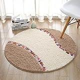 HOMEE round Mat Chairs Mat Living Room Bedroom Satin Anti-Slip Circular Rug,Khaki,Diameter 90Cm