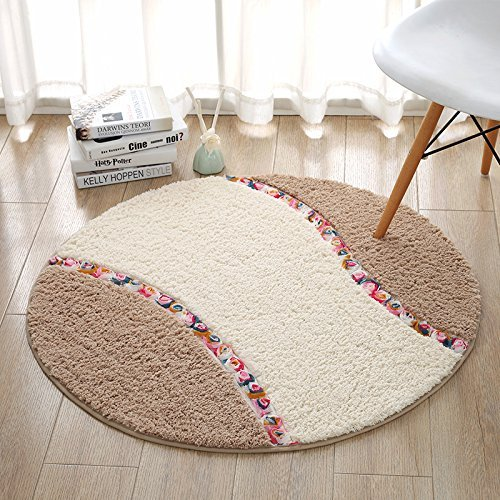 HOMEE round Mat Chairs Mat Living Room Bedroom Satin Anti-Slip Circular Rug,Khaki,Diameter 90Cm by HOMEE