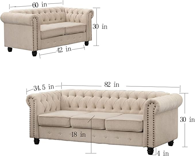 Grey Chair Couch and Sofa 3 Pieces Fabric Sofas for Living Room Furniture Sets Morden Fort Couches for Living Room