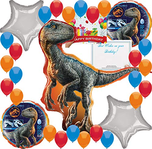 Jurassic World Fallen Kingdom Birthday Party Supplies Balloon Decoration Bundle (Deluxe Raptor Kit)