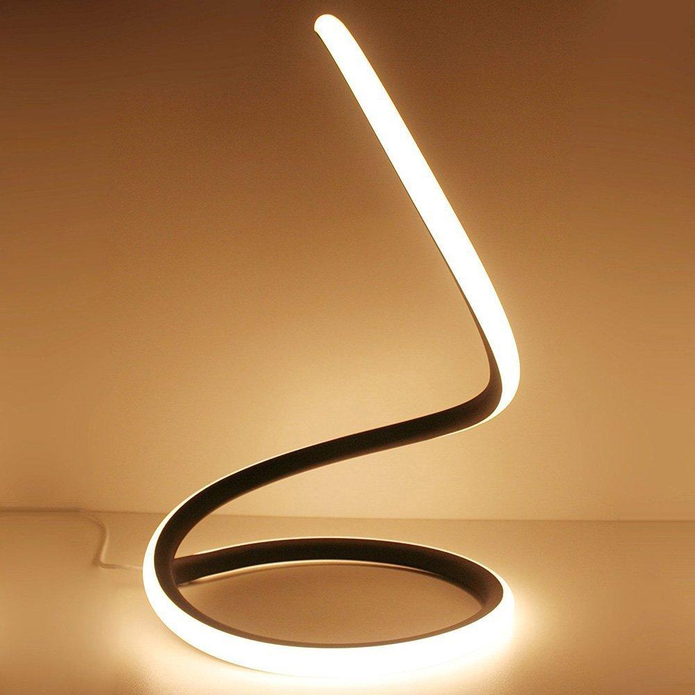 Modeen 40W Lampada da tavolo a LED a spirale moderna lampada da tavolo a LED lampada da comodino camera da letto studio di lavoro luce dellocchio minimalista design salvaspazio materiale acrilico