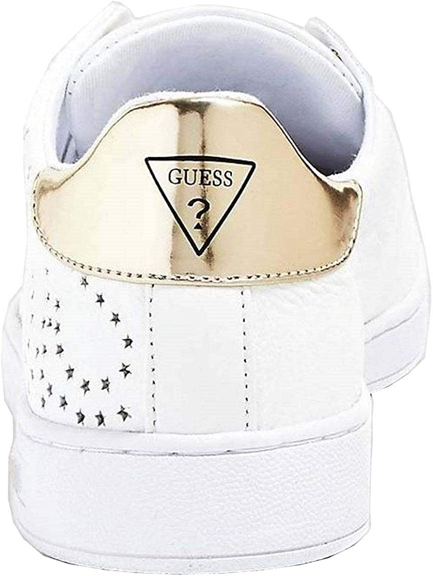 Gold Womens Leather Trainers Shoes