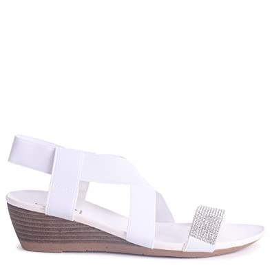 Damen Sandalen Weiß Weiß, Weiß - Weiß - Größe: 42 Linzi