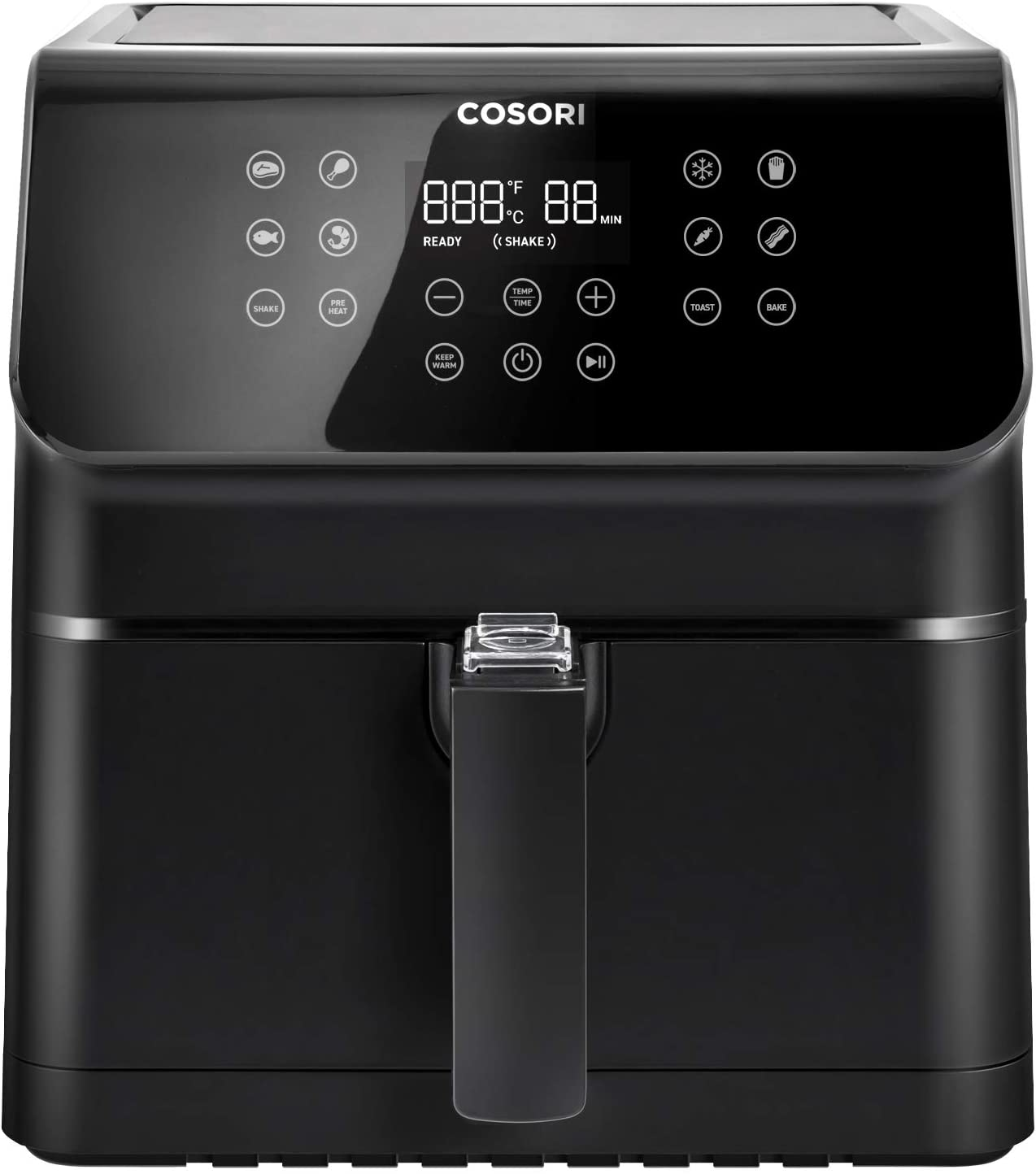 COSORI Air Fryer, Large XL 5.8 Quart 1700-Watt Air Fryer Oven & Oilless Cooker with Cookbook(100 Recipes) LED Digital Tilt One-Touchscreen with Preheat, Customizable 10 Presets & Shake Reminder, Black