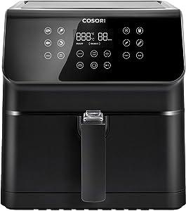 COSORI Air Fryer, LargeXL5.8Quart 1700-Watt AirFryerOven&OillessCookerwith Cookbook(100Recipes) LEDDigitalTiltOne-TouchscreenwithPreheat, Customizable10Presets & ShakeReminder, Black