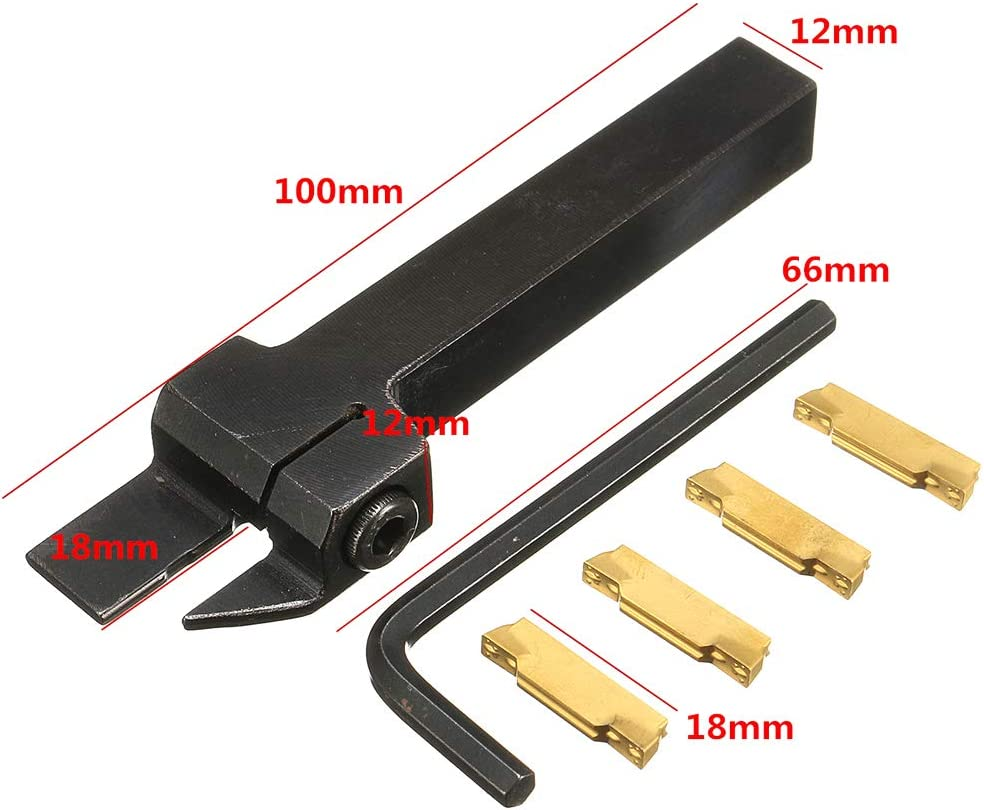 1Pc Wrench KKmoon 1Pc MGEHR1212-3 Lathe Cut-Off Grooving Parting Tool Holder 4Pcs MGMN300 Inserts Blade