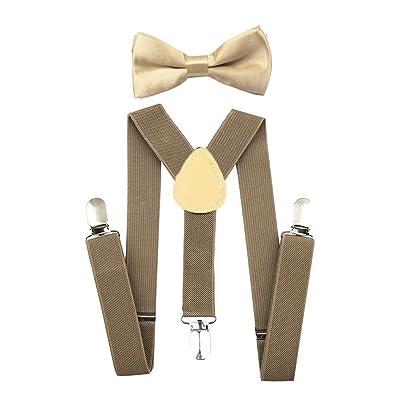 ACTLATI Kids Children Adjustable Suspenders Bowtie Set