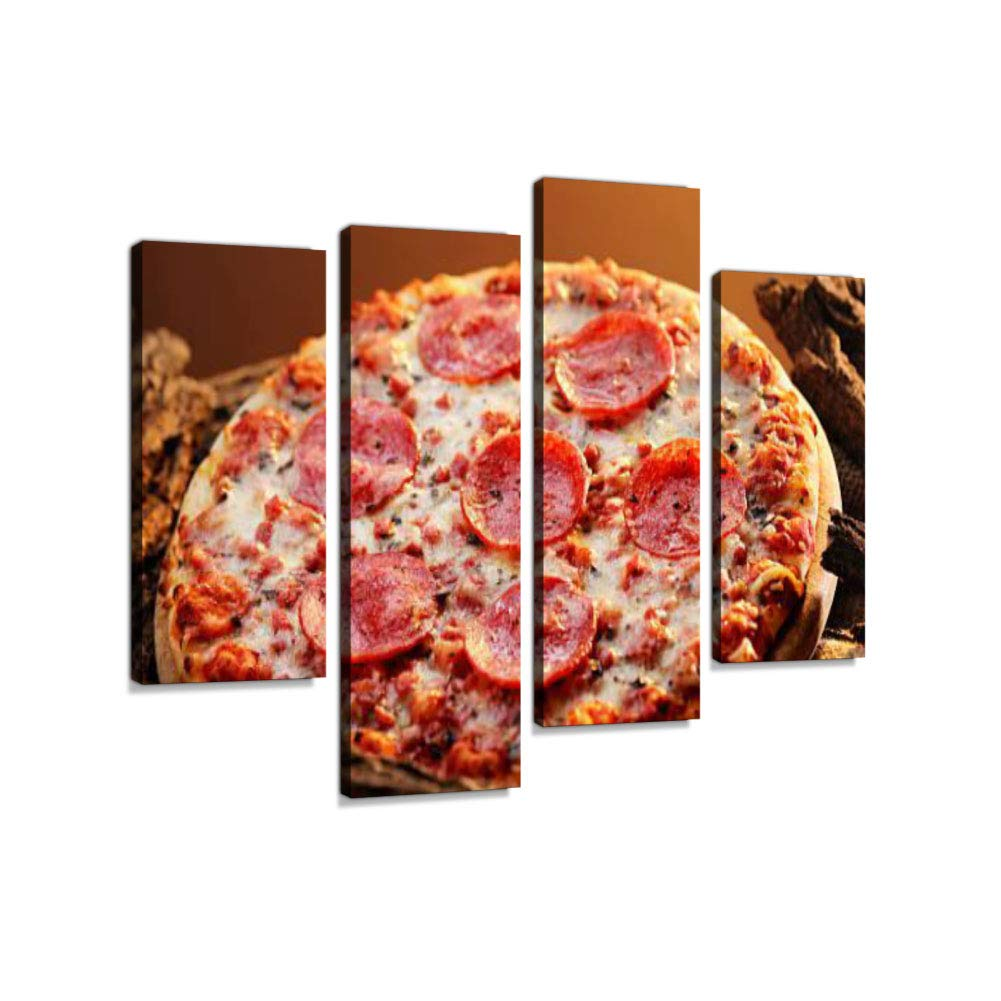 Pepperoni Pizza Canvas Wall Art Hanging Paintings Modern Artwork Abstract Picture Prints Home Decoration Gift Unique Designed Framed 4 Panel