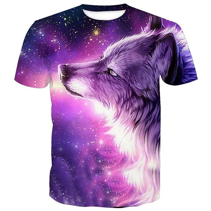 3b763326 Purple Dream Galaxy Wolf Neutral T-Shirt | Amazon.com