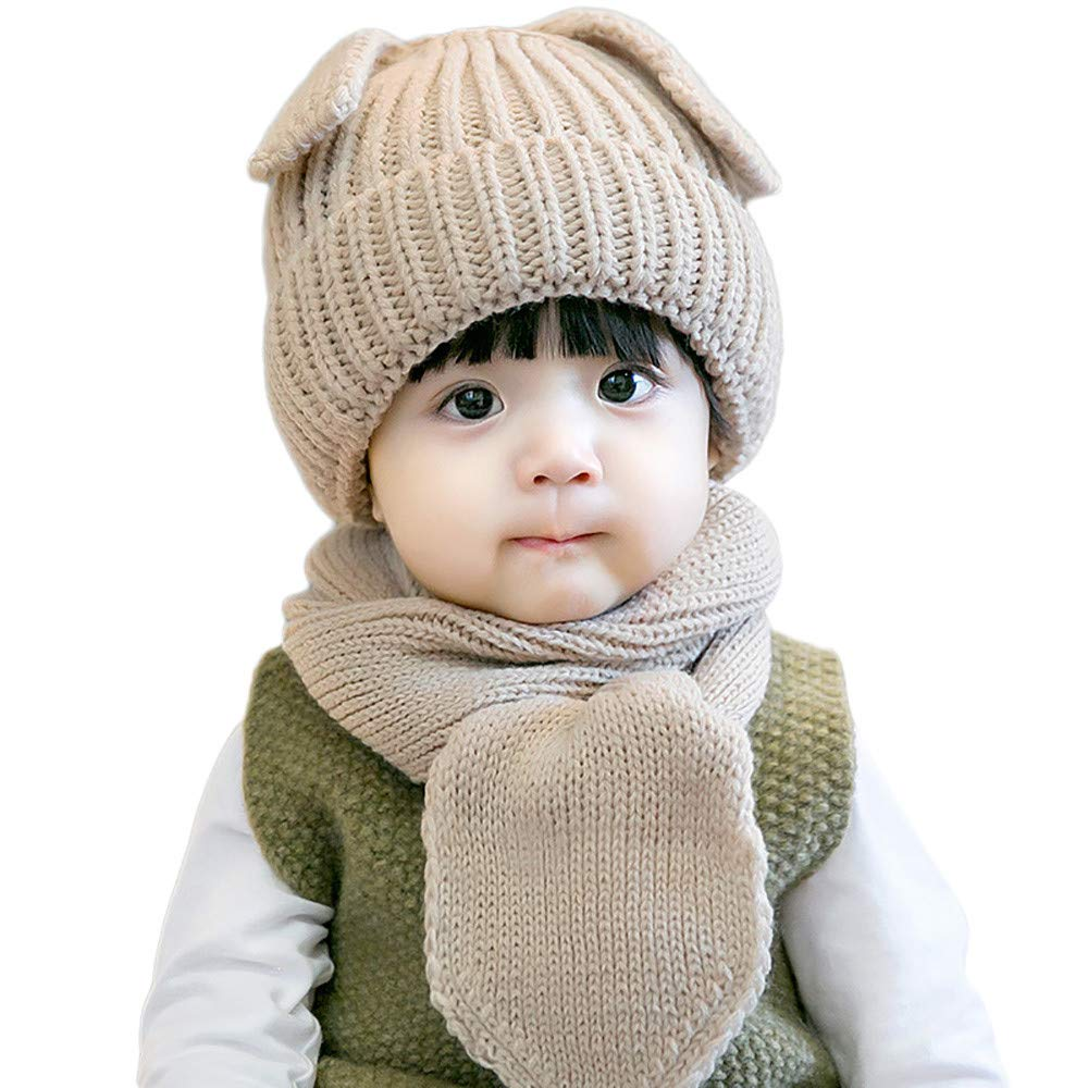 edf2d9b09d3a65 Amazon.com : Baby Winter Warm Knitted Hats Scarfs Set Clearance- Iuhan 2PCS  Baby Toddler Boy Girl Warm Knitted Cute Puppy Soft Hat Scarf Cap Neck Warmer  Set ...