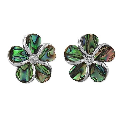 Sterling Silver Abalone Shell Plumeria Earrings