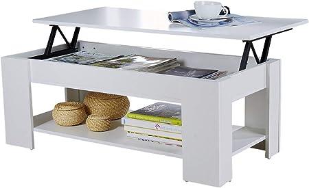 Home Source Caspian Lift Top Coffee Table With Storage Shelf Espresso Walnut Oak White White