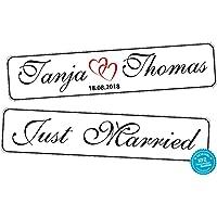 Original KFZ-Kennzeichen Hochzeit Autoschilder Hochzeitsschilder Hochzeitsschild Namensschilder Just Married mit Datum und Namen 0219-0010