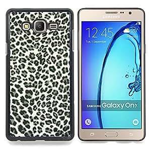 """Qstar Arte & diseño plástico duro Fundas Cover Cubre Hard Case Cover para Samsung Galaxy On7 O7 (Los puntos del leopardo Patrón Negro Piel Blanca Bling Posh"""")"""