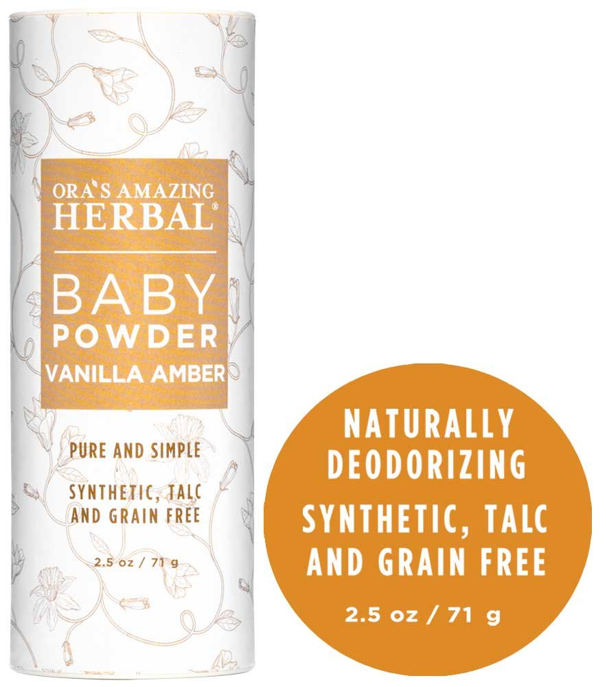 Ora's Amazing Herbal Talc-Free Grain-Free Gluten-Free Corn-Free Baby Powder, Vanilla Amber, 2.5 oz. Ora's Amazing Herbal