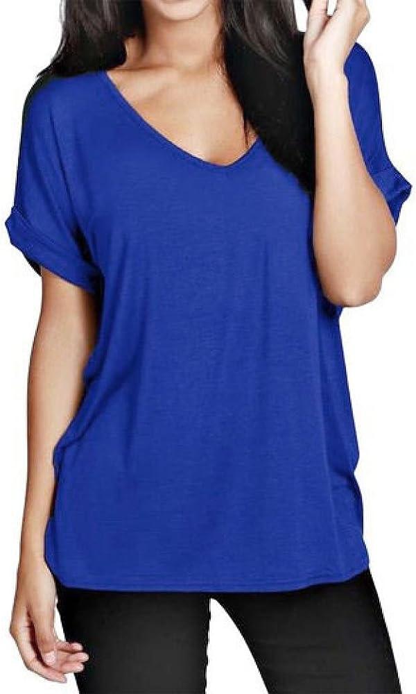 Camiseta de Manga Corta para Mujer Ronamick, Cuello en V, Manga Corta, Color Azul Azul L: Amazon.es: Iluminación