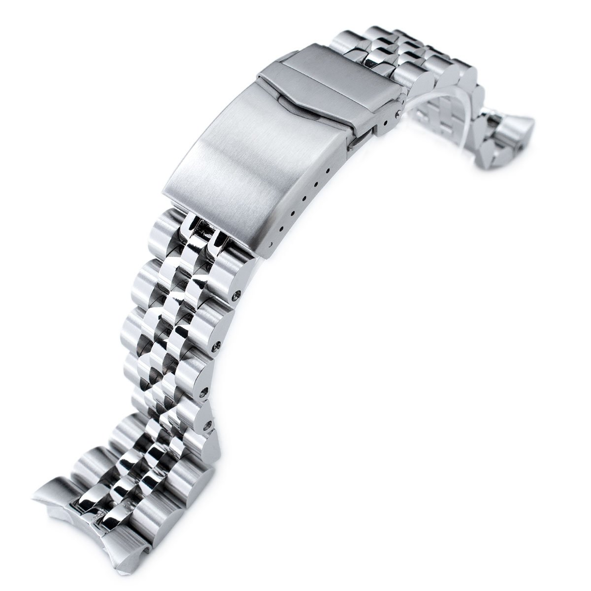22mm Angus Jubilee 316L SS Watch Bracelet for Seiko SKX007, Brushed/Polished, V-Clasp by Seiko Replacement by MiLTAT
