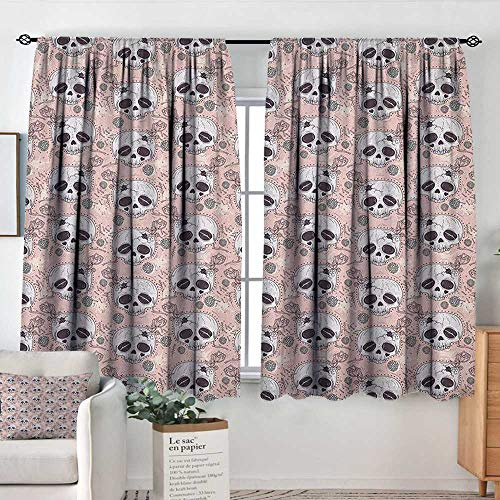 White Curtains Skull,Halloween Traditional Mexican Sugar Day of The Dead Roses Horror Folk Pattern, Blush White Onyx,Decorative Curtains for Living Room and Bedroom 42