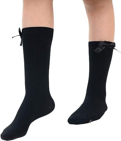 Bow Knee High Long Soft Cotton Multi Colour Girls School Socks 3 Pairs Kids