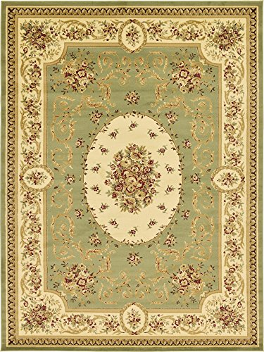 Traditional Rectangular Green - Unique Loom Versailles Collection Traditional Classic Green Area Rug (9' 0 x 12' 0)