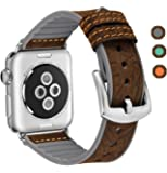 ERWUBALA for Apple Watch Band 38mm / 42mm, iWatch Band Genuine Leather and Soft Silicone Sport Replacement Bands compatible with iwatch smart watch Apple Watch Series 1, Series 2,Series 3